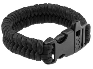 Bracelet de survie paracorde Noire et sifflet